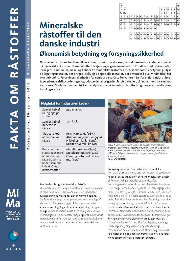 MiMa faktablad - Mineralske råstoffer til den danske industri