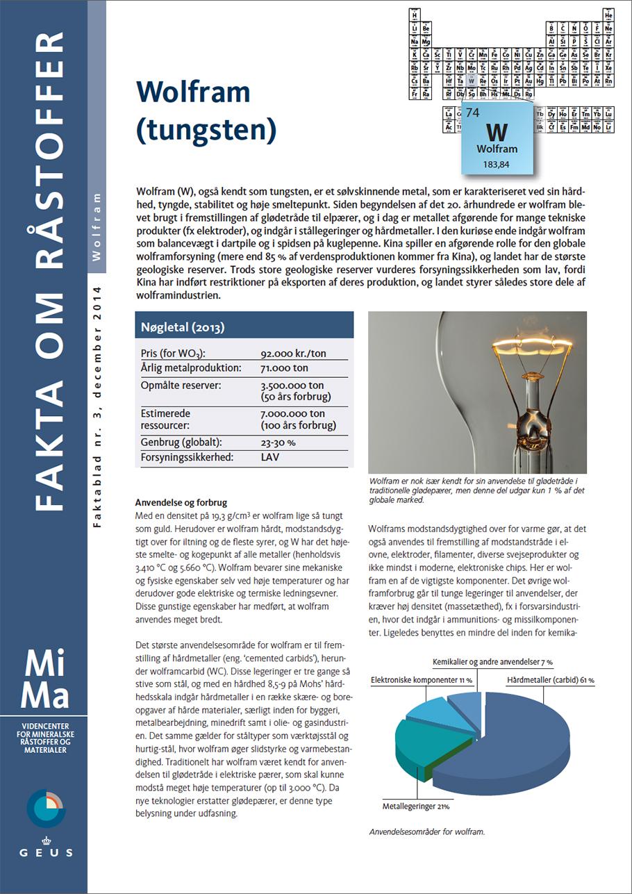 MiMa Faktablad - Fakta om råstoffet - Wolfram (Tungsten)